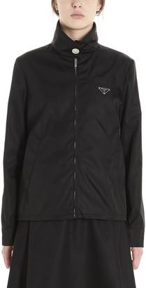 Prada Zipped Logo Plaque Jacket