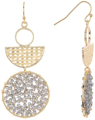 Panacea Smokey Crystal Geometric Abstract Statement Earrings