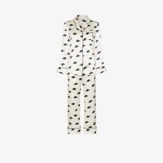 Olivia von Halle Lila eye print silk pyjama set