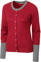Cutter & Buck Cardinal Red & Gray Color Block Curriculum Cardigan