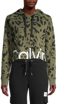 Calvin Klein Animal-Print Cropped Cotton-Blend Hooded Jacket