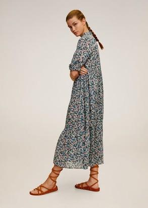 MANGO Floral print long dress off white - 4 - Women