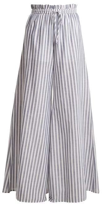 Caroline Constas Striped Paperbag Waist Trousers - Womens - Blue White