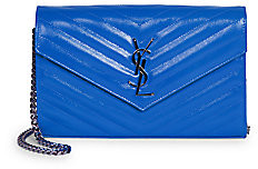 Saint Laurent Women's Monogram Matelassé Neon Leather Wallet-On-Chain