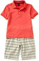 Nautica Little Boys 4-7 Solid Short-Sleeve Polo Shirt & Striped Shorts Set