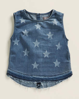 DL1961 Girls 4-6x) Leah Star Pattern Denim Tank