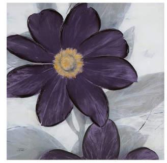 Madison Home USA Midnight Bloom Plum Hand Embellished Canvas