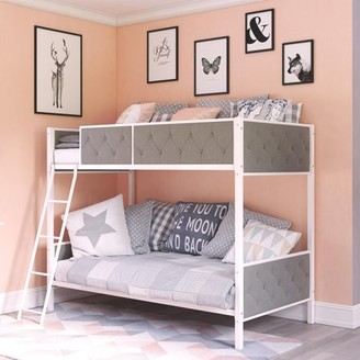 DHP Chesterfield Upholstered Bunk Bed, White Metal with Grey Linen