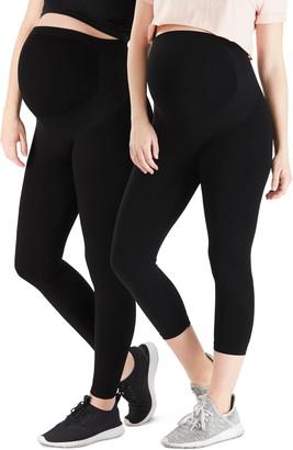 Belly Bandit 2-Pack Bump Support Leggings & Bump Support Capri Leggings