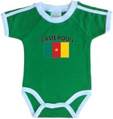 PAM baby Cameroon soccer bodysuit with white piping