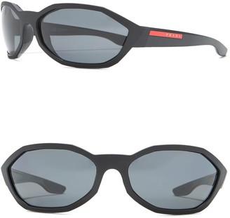 Prada Linea Rossa 67mm Wrap Around Sunglasses