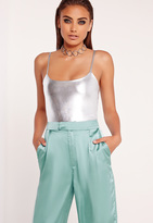 Missguided Strappy Bodysuit Silver