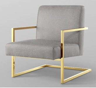 """Nicole Miller Keenan 27"""" W Faux Leather Armchair Upholstery Color: Light Gray Faux Leather, Leg Color: Gold"""