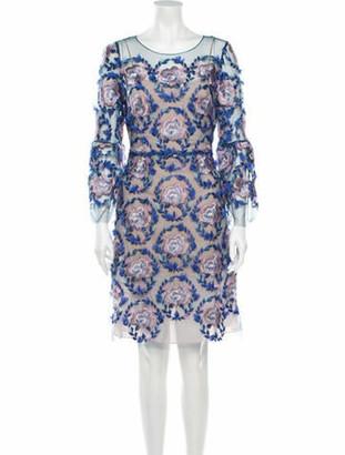 Marchesa Notte Floral Print Knee-Length Dress w/ Tags Blue