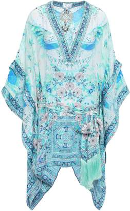 Camilla The Lonely Wild Belted Layered Crystal-embellished Silk Mini Dress