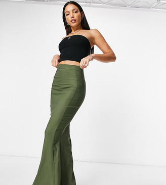 Vesper Tall fishtail maxi skirt in khaki