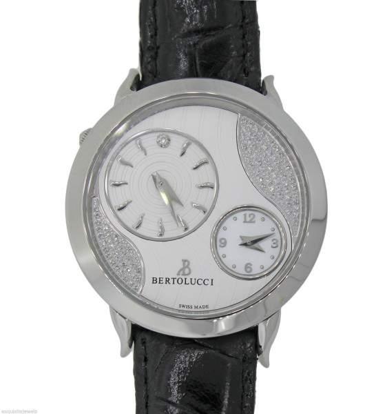 Berto Lucci Bertolucci Montre Quartz Volta Stainless Steel Silver Diamond Dial Watch