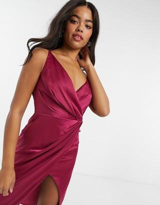 Little Mistress wrap satin midi dress in berry