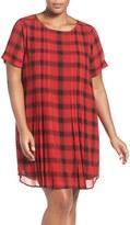 Foxcroft Plus Size Women's Buffalo Check Cuff Sleeve Shift Dress
