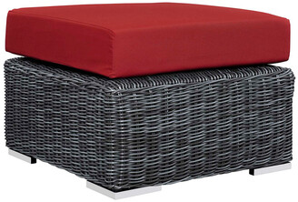 Modway Outdoor Summon Outdoor Patio Wicker Rattan Sunbrella Ottoman