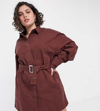 Collusion Plus belted mini shirt dress in chocolate brown