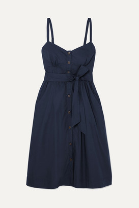 J.Crew Rossini Belted Cotton-poplin Dress - Navy