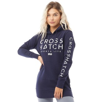 Crosshatch Womens Vanessa Longline Hoodie Peacoat