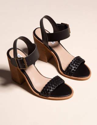 Steve Madden Cadence Black Leather Womens Heeled Sandals