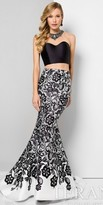 Terani Couture Damask Floral Print Two Piece Mermaid Prom Dress