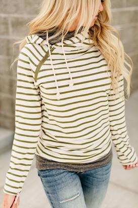 Ampersand Avenue PREORDER: DoubleHood Sweatshirt - Olive Stripe