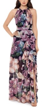 Betsy & Adam Floral-Print Halter Gown