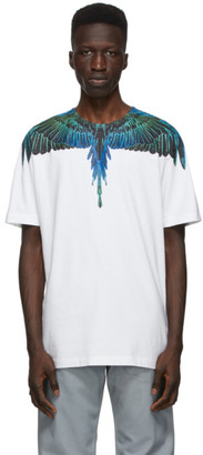 Marcelo Burlon County of Milan White and Blue Neon Wings T-Shirt