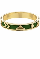 House Of Harlow Aztec Bangle with Green Leather