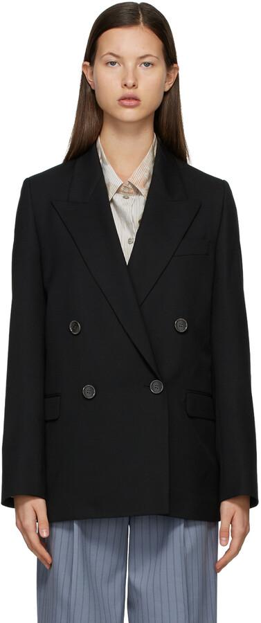 Acne Studios Black Wool Double-Breasted Suit Blazer