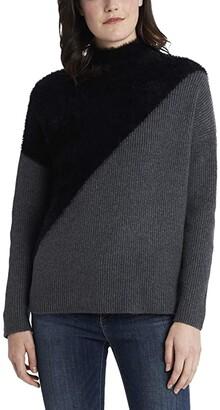 Vince Camuto Diagonal Color-Block Turtleneck Sweater (Medium Heather Grey) Women's Clothing