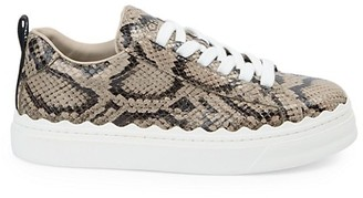 Chloé Lauren Snakeskin-Embossed Leather Sneakers