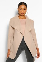 Boohoo Abigail Waterfall Coat stone