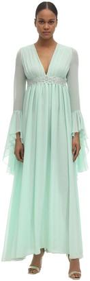 Giamba Georgette Embellished Midi Dress