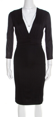Versace Black Ruched Bodice Long Sleeve Fitted Cocktail Dress S