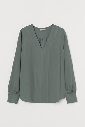 H&M V-neck Blouse - Green