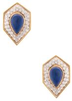 Lapis Vintage & Diamond Shield Earrings