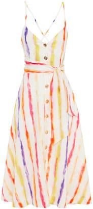 Nicholas Belted Printed Linen-gauze Midi Dress