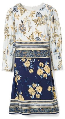 Vince Camuto Mixed-Print Shift Dress