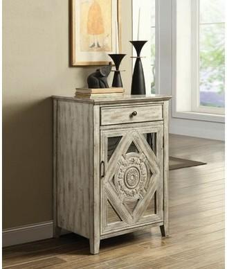 Bungalow Rose Hausman 1 Door Mirrored Accent Cabinet Color: Antique White