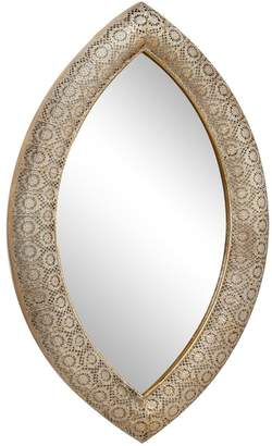 UMA Large Metallic Gold Pierced Metal Pointed Oval Wall Mirror w/ Ornate Floral Pattern