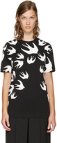 McQ by Alexander McQueen Black and White Swallows T-shirt