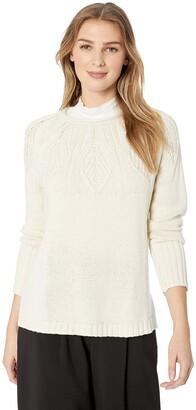 Chaps Women's Stitched-Yoke Crewneck Pull Over Long Sleeve Sweater