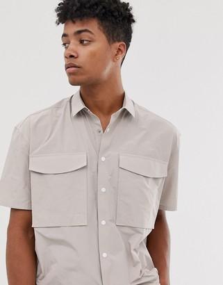 Asos Design DESIGN oversized nylon shirt with utility pockets in gray