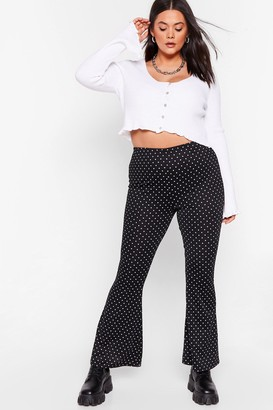 Nasty Gal Womens We're Dot Famous Plus Flare Trousers - Black - 16