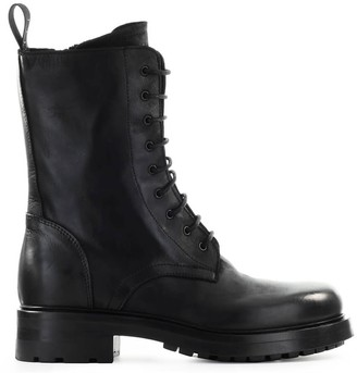 Elena Iachi Black Leather Lace Up Boot